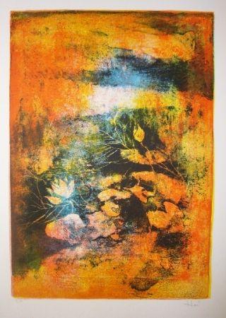 Litografía Lebadang - Mare aux lotus 2