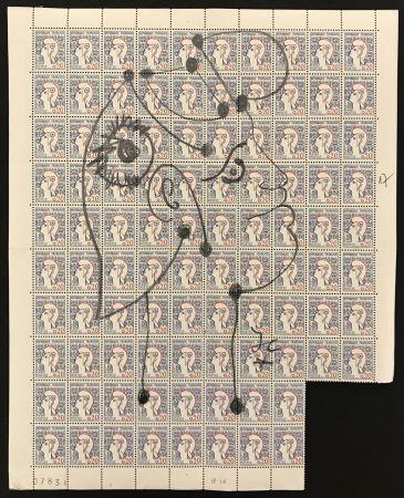 Sin Técnico Cocteau - Marianne sur une planche de 96 timbres de la Marianne de Cocteau (Marianne on a plate of 96 stamps of Marianne de Cocteau)