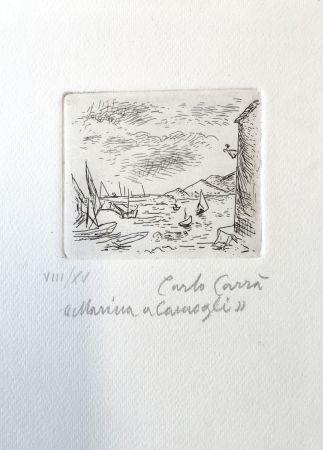Aguafuerte Carra - Marina a Camogli