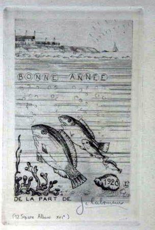 Aguafuerte Laboureur - Marine aux quatre poissons