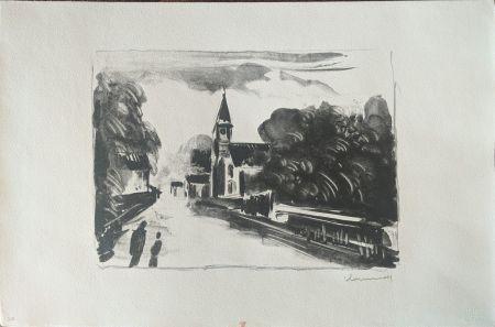 Litografía Vlaminck - Marine, l'église