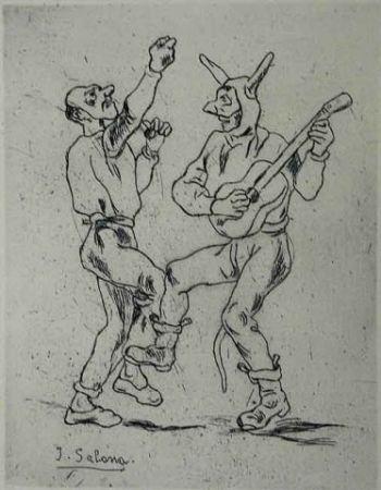 Aguafuerte Gutiérrez Solana  - Mascaras bailando con guitarra