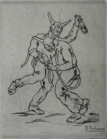 Aguafuerte Gutiérrez Solana  - Mascaras diablos bailando