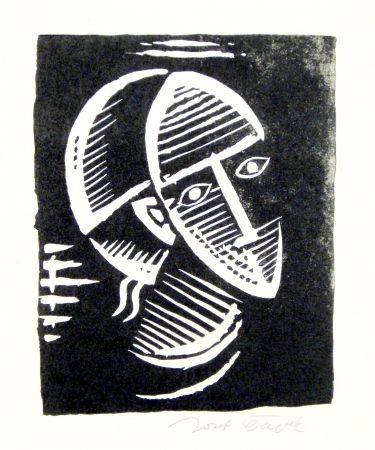 Linograbado Capek - Maske (Mask)