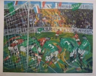 Litografía Bertholle - Match de football