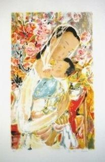 Litografía Lê Phô - Maternité