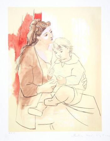 Litografía Picasso - Maternite au Rideau Rouge, K-1