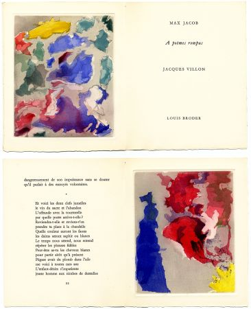 Libro Ilustrado Villon - Max Jacob : À POÈMES ROMPUS. 5 gravures originales en couleurs (1960).