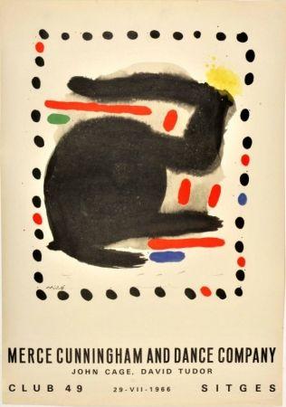 Cartel Miró - Merce Cunningham and Dance Company. John Cage and David Tudor. Club 49. 29-VII-1966. Sitges
