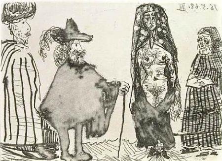 Aguafuerte Y Aguatinta Picasso - Mille et une nuits et Celestine: la jeune esclave