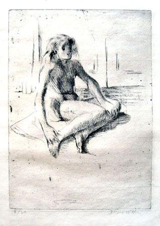 Grabado Villon - Minne assise à terre