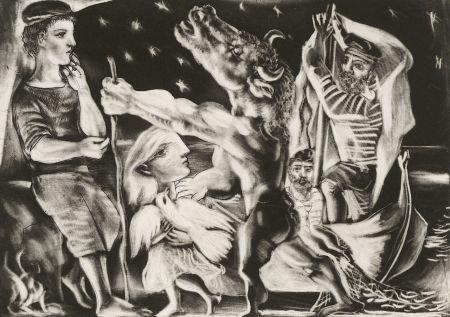 Manera Negra Picasso - Minotaure aveugle guidé par Marie-Thérèse au pigeon dans une nuit étoilée (Blind Minotaur Guided Through a Starry Night by Marie-Thérèse with a Pigeon)