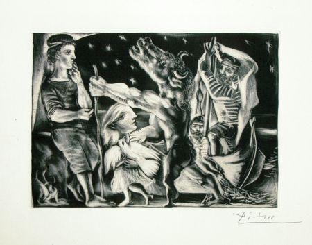 Aguatinta Picasso - Minotaure aveugle guide par une fillette dans la nuit from the Vollard Suite