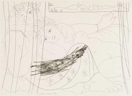 Aguafuerte Picasso - Minotaure et femme derriere un rideu