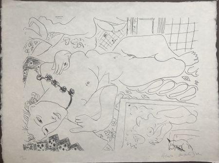 Litografía Matisse - Modèle refleté dans le miroir avec la main de l'artiste 45x60 CAHIERS D'ART