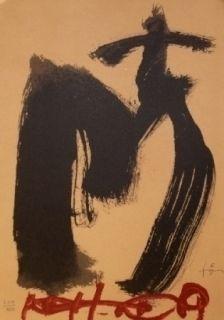 Litografía Tàpies - M.Ojos y cruz