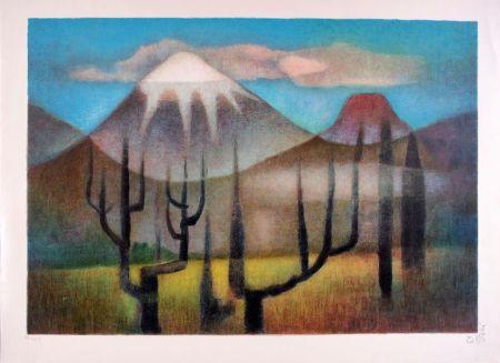Litografía Toffoli - Montagnes mexicaines