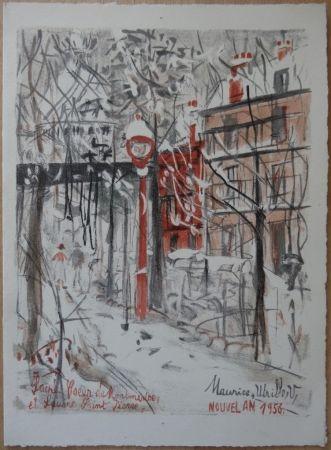 Litografía Utrillo - Montmartre sous le neige