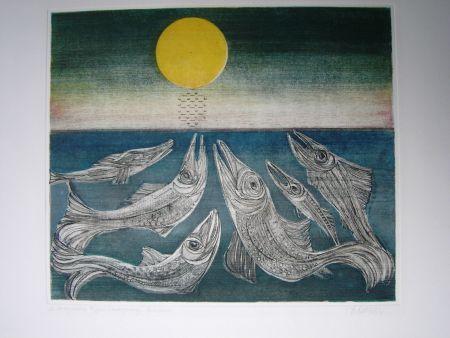 Aguafuerte Y Aguatinta Finsterer - Morgenstern >Fisches Nachtgesang<