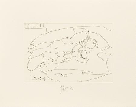 Grabado Flanagan -  Mother lying with child