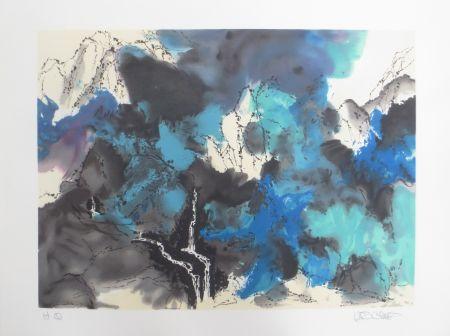 Litografía Po Chung - Mountain and stream in mist
