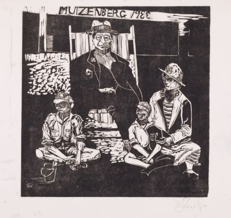 Linograbado Kentridge - Muizenberg 1933