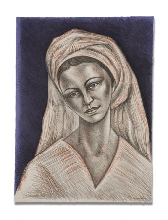 Litografía Anguiano - Mujer con rebozo blanco