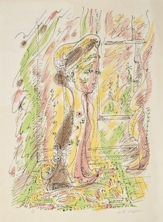 Litografía Masson - Mujer junto a la ventana