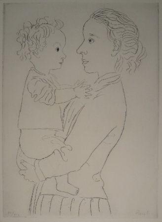 Aguafuerte Pauli - Mutter und Kind