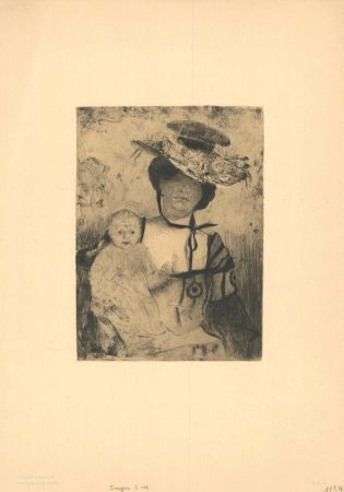 Grabado Corinth - Mutter und Kind