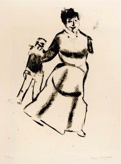Punta Seca Chagall - Mutter und sohn