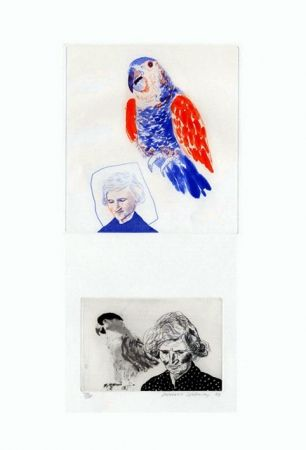 Grabado Hockney - My mother with a parrot