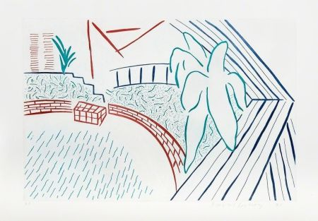 Aguafuerte Hockney - My Pool and Terrace