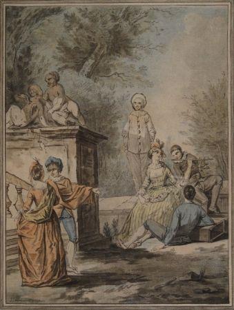 Aguatinta Janinet - Nach Jean Antoine Watteau (1684-1721). Komödiantenszene