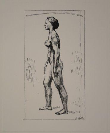 Litografía Hodler - Nacktes Mädchen, nach links schreitend