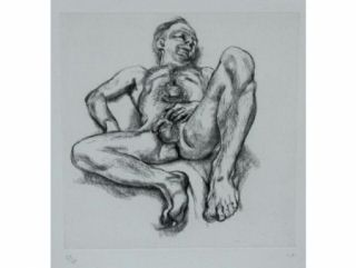 Aguafuerte Freud - Naked man on a bed