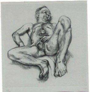 Grabado Freud - Naked man on a bed