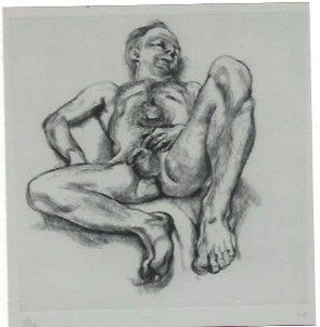 Grabado Freud - Naked man on a bed