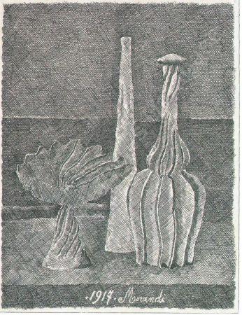 Aguafuerte Morandi - Natura morta con compostiera, bottiglia lunga e bottiglia scannellata
