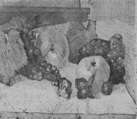 Aguafuerte Barbisan - Natura morta con uva e fichi