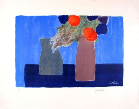 Litografía Cathelin - Nature morte au fond bleu - Still Life on a blue background