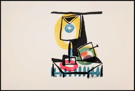 Grabado Picasso - NATURE MORTE AU VERRE ET À LA POMME (Le grand verre). Pointe sèche et burin (1944)