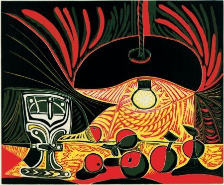 Linograbado Picasso - Nature morte au verre sous la lampe