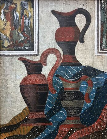 Sin Técnico Fustier - Nature morte aux jarres et drapé (1935)