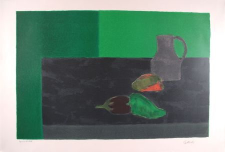 Litografía Cathelin - Nature morte noire et verte aux poivrons - Still Life in black and green with peppers