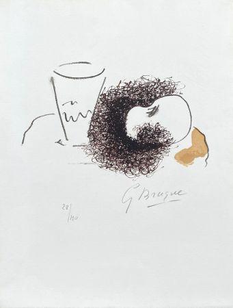 Litografía Braque - Nature morte verre et pomme