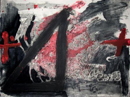 Aguafuerte Y Aguatinta Tapies - Negre i Roig