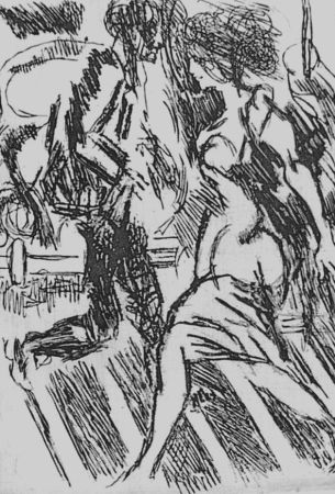 Aguafuerte Guttuso - Nella strada