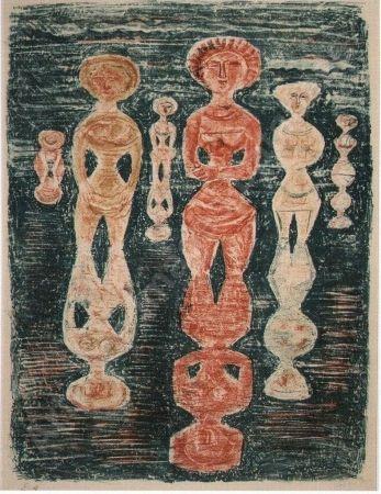 Litografía Campigli - Nelle risaie