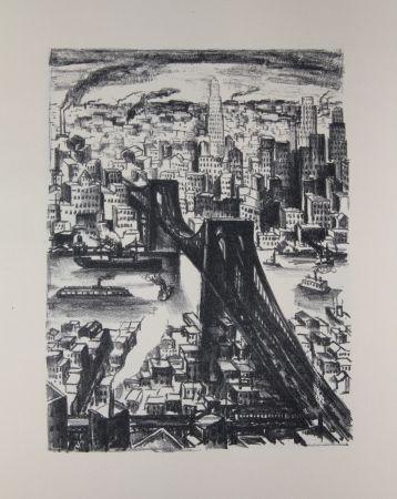 Litografía Lubbers - NEW-YORK - BROOKLYN BRIDGE / LE PONT DE BROOKLYN